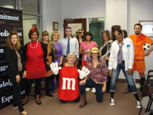 Law firm employees celebrating Halloween